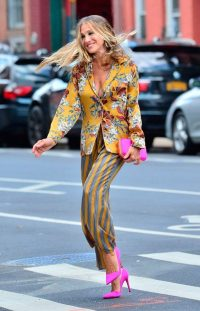 SJP bright beautiful outfit ~ florals & stripes ~ celebrity outfits