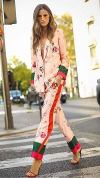 Floral pyjama suit and bareley there heels