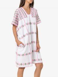 Pippa Holt Multicoloured Embroidered Kaftan Mini Dress ~ poolside cover-up