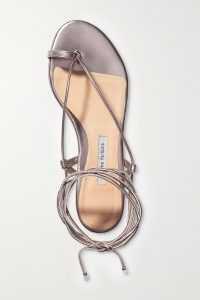 EMME PARSONS Ava leather sandals | platinum strappy flat sandal