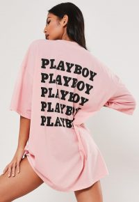 playboy x missguided petite pink repeat slogan t shirt dress / longline tee