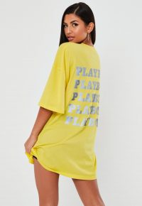 playboy x missguided yellow reflective repeat print t shirt dress
