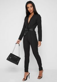Manière De Voir PLUNGE JUMPSUIT WITH VEGAN LEATHER BELT – BLACK