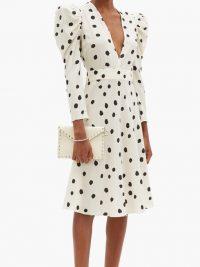 ADRIANA DEGREAS Plunge-neck polka-dot poplin midi-dress | balloon sleeve fit and flare