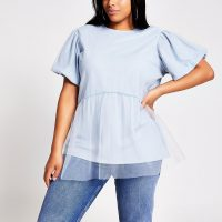 RIVER ISLAND Plus blue mesh puff sleeve T-shirt / sheer overlay tee