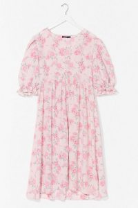 NASTY GAL Plus Sie Floral Puff Sleeve Midi Dress – feminine summer dresses