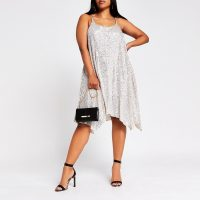 RIVER ISLAND Plus Silver Sequin Cami Dress – asymmetric slip dresses