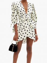 ADRIANA DEGREAS Polka-dot cotton-blend mini wrap dress