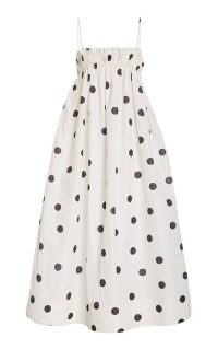 Ganni Polka-Dot Recycled Crepe Midi Dress ~ spaghetti strap dresses