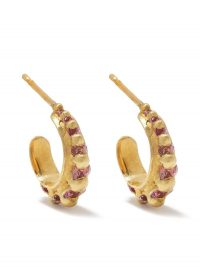 Polly Wales 18kt yellow gold Nova sapphire earrings ~ pink sapphires ~ small hoops