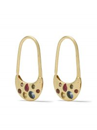 Polly Wales 18kt yellow gold safety pin sapphire earrings ~ multicoloured sapphires