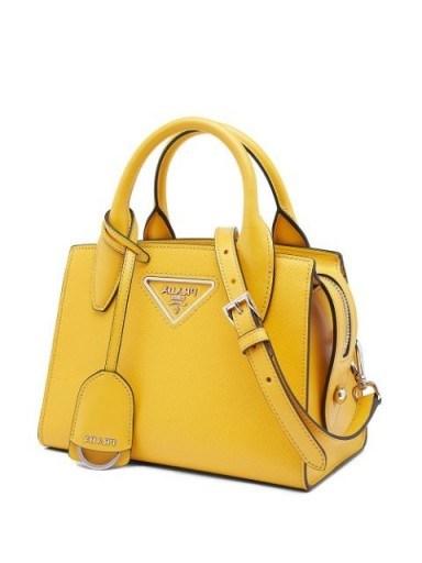 PRADA logo tote bag in sunny yellow - flipped