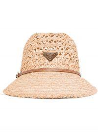 Prada woven raffia hat / designer logo hats
