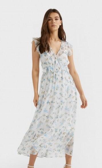 stradivarius Print dotted mesh midi dress sky blue | feminine flutter sleeve frock - flipped