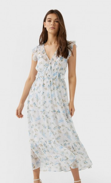 stradivarius Print dotted mesh midi dress sky blue | feminine flutter sleeve frock