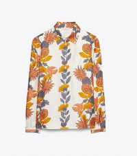 TORY BURCH PRINTED BUTTON-DOWN SHIRT Orange Wonderland Vine / pineapple prints
