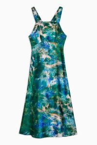 TOPSHOP Printed Dress By Topshop Boutique – green and blue cross back dresses