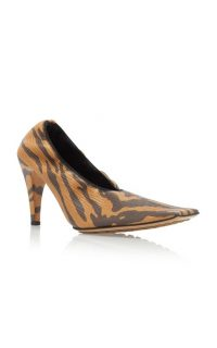 Bottega Veneta Printed Textured-Leather Pumps ~ square toe courts