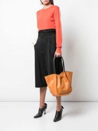 Proenza Schouler L Ruched Tote / orange leather handbags