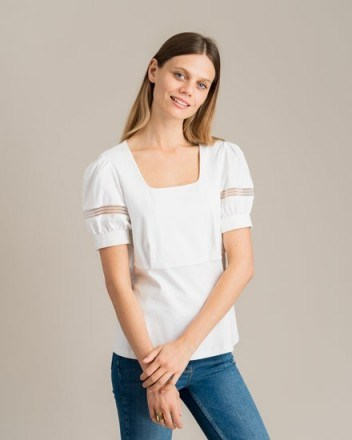 Jigsaw PUFF SLEEVE LACE TRIM TOP WHITE - flipped