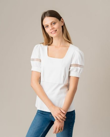 Jigsaw PUFF SLEEVE LACE TRIM TOP WHITE