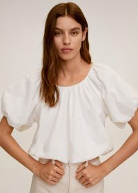 MANGO AINA Puffed crop blouse off white