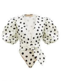 ADRIANA DEGREAS Puffed-sleeve polka-dot cotton-blend bodysuit | deep V-necklines | puff sleeved bodysuits