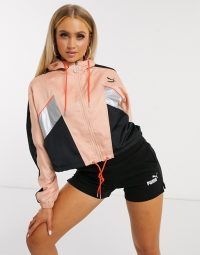 Puma luxe track jacket in pink / logo sports jackets