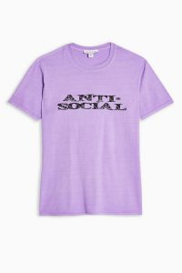 TOPSHOP Purple Anti-Social T-Shirt – slogan tee