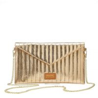 BALZAC PARIS X LA REDOUTE COLLECTIONS Quilted Leather Clutch Bag with Chain in gold / metallic evening bags