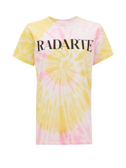RODARTE Radarte tie-dye jersey T-shirt / yellow and pink tee