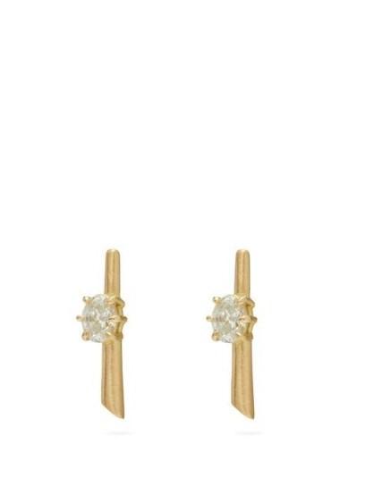 JADE TRAU Rae diamond & 18kt gold earrings ~ embellished bar studs - flipped
