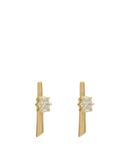 JADE TRAU Rae diamond & 18kt gold earrings ~ embellished bar studs