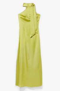 NASTY GAL Raise Your Glass Halter Satin Dress Chartreuse