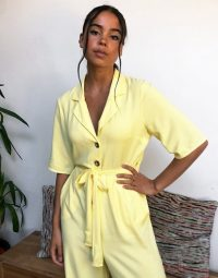 Reclaimed Vintage inspired boiler jumpsuit in yellow – lightweight summer boilersuit