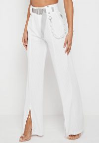 Manière De Voir RIBBED WIDE LEG TROUSERS WITH CHAIN WHITE ~ front slit hems