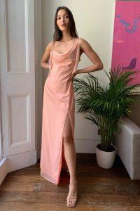 NASTY GAL Right Bride Your Side Cowl Maxi Dress Pale Pink – asymmetric neckline slip dresses