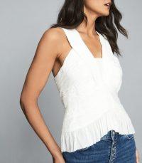 REISS RILEY RUCHED SLEEVELESS TOP WHITE ~ feminine summer tops