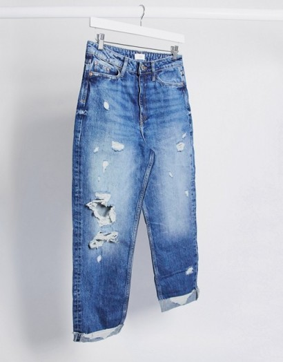 River Island Carrie ripped mom jeans in mid blue | distressed | destroyed