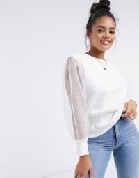 River Island organza sleeve shirred blouse in white / sheer sleeved top