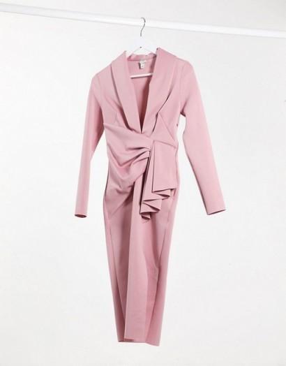 River Island plunge drape bodycon midi dress in pink – draped origami- inspired dresses