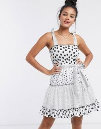 River Island spot shirred mini dress in white / spotty fit and flare