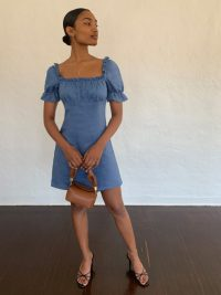 Reformation Robles Dress Azul | puffed sleeve dresses
