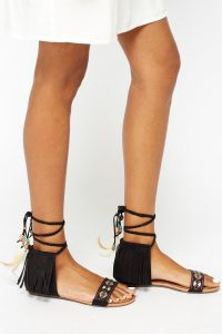 The Fashion Bible RODEO BLACK AZTEC TASSEL SANDALS | boho summer footwear