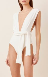 Haight Roge Tie-Waist One-Piece Swimsuit ~ pool glamour ~ deep V neckline swimsuits
