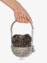Rosantica Grey Kingham Cometa Velvet Pouch Bag ~ embellished event bags