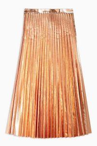 TOPSHOP Rose Gold Metallic PU Pleated Midi Skirt