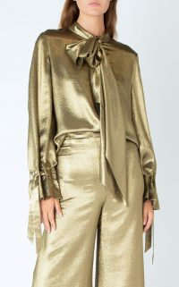 ROLAND MOURET ROYCE TOP Gold / metallic blouses