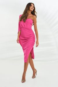 LAVISH ALICE ruched side cape midi dress in bright pink – evening glamour