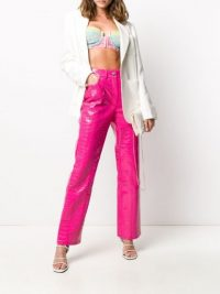 Elsa Hosk pink trousers, SAKS POTTS croc-effect high rise trouser, on Instagram, 30 May 2020 | models off duty fashion